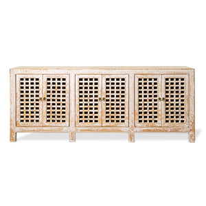 Lattice 6 Door Buffet Spackle White