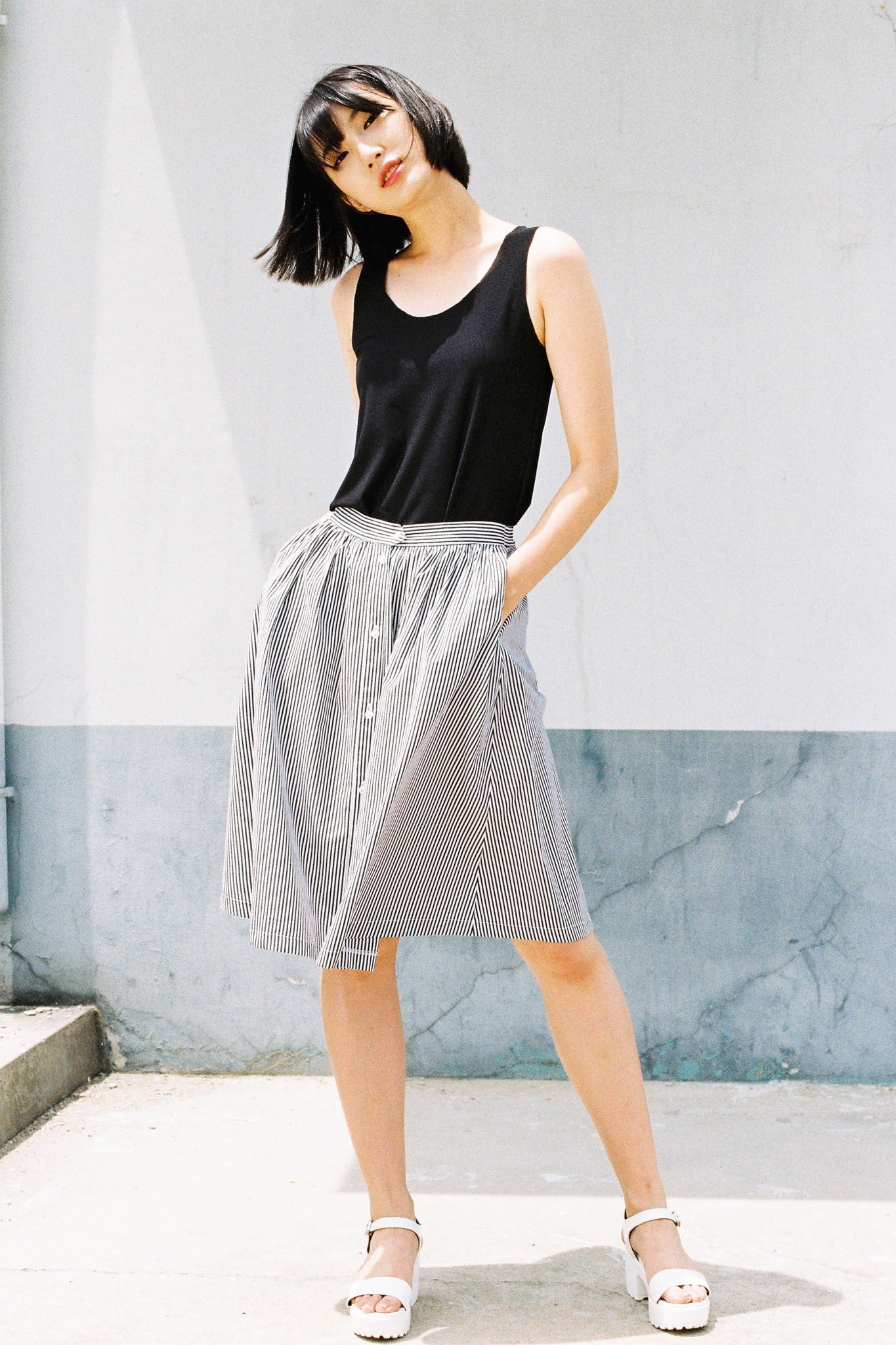 River buttoned midi skirt