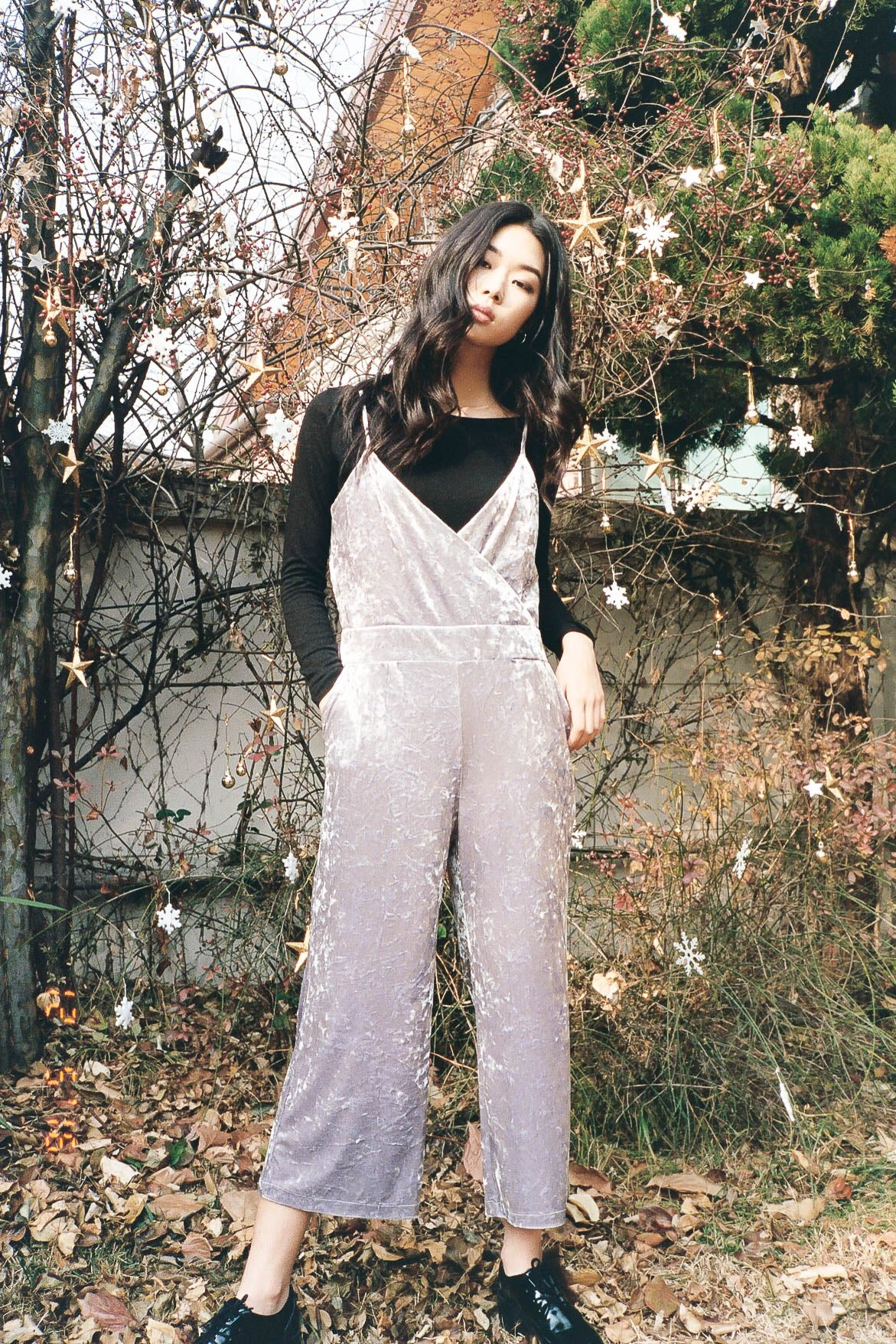 Timeout crushed velvet jumpsuit