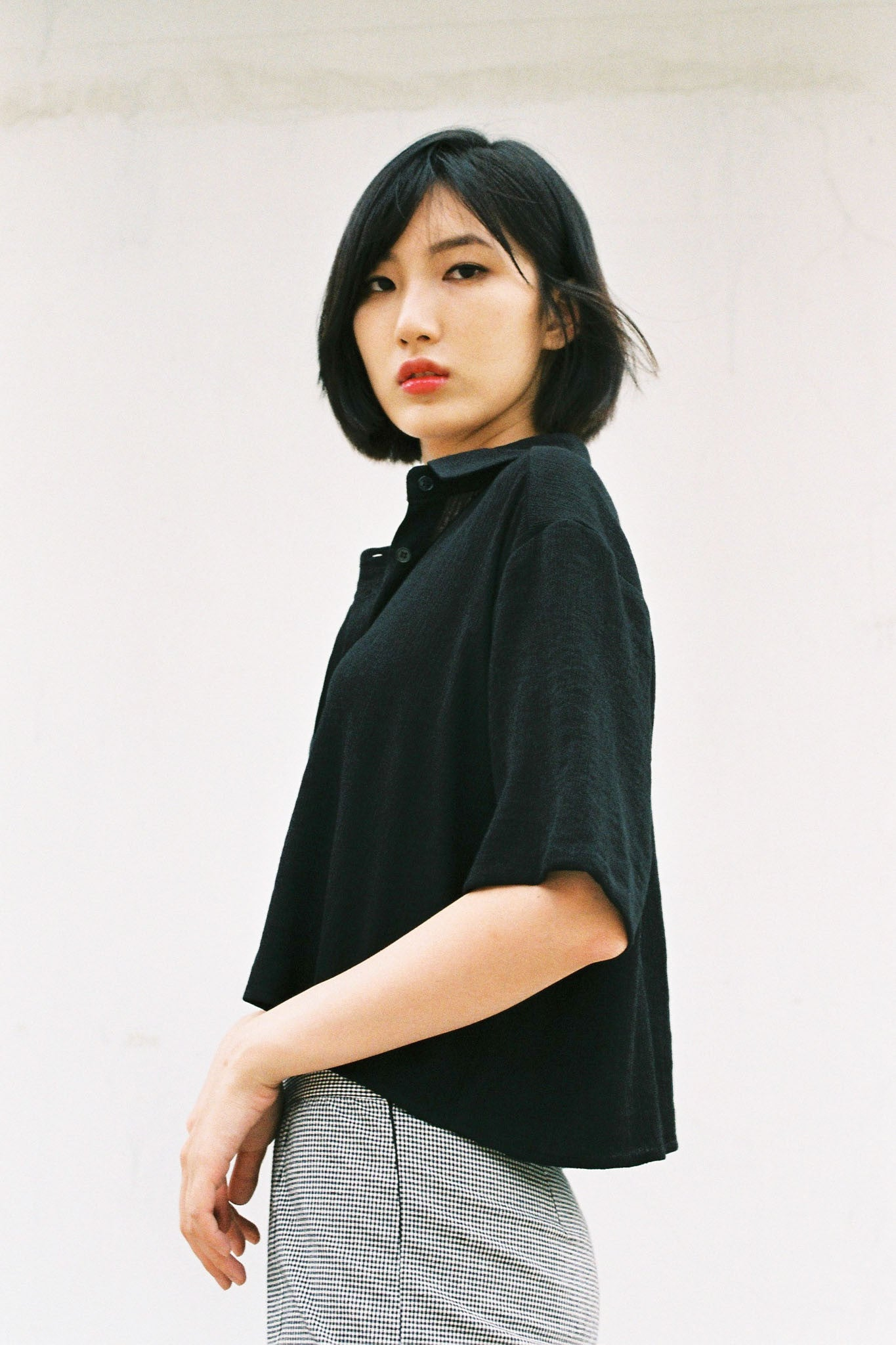 Fresh cropped pleated shirt