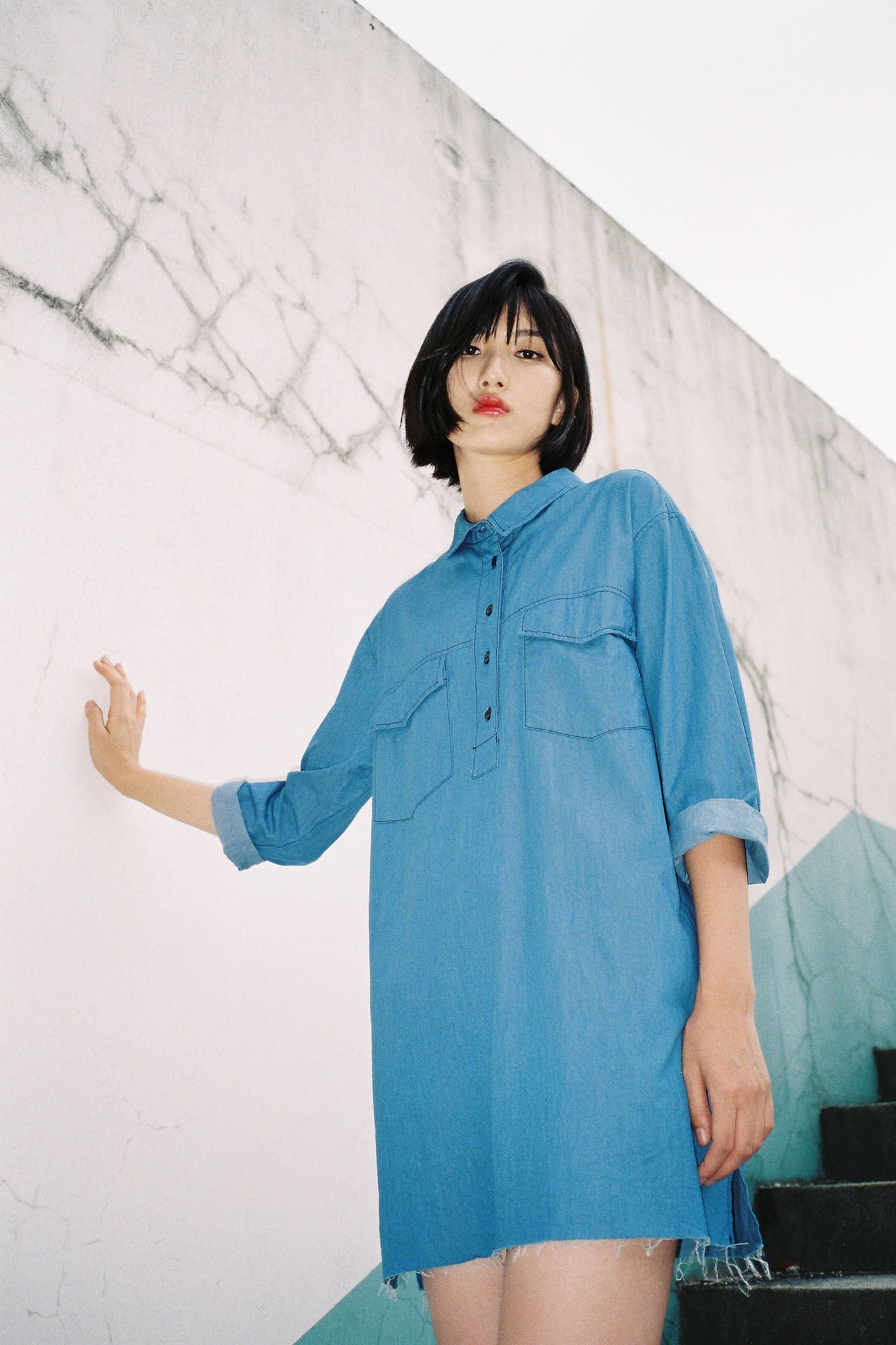No Need denim shirt dress
