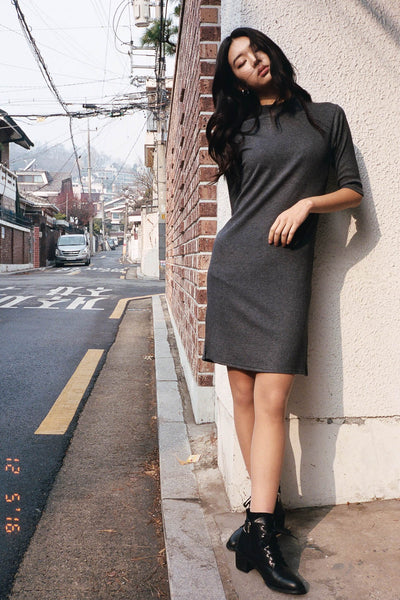 Yiyi high neck ribbed dress