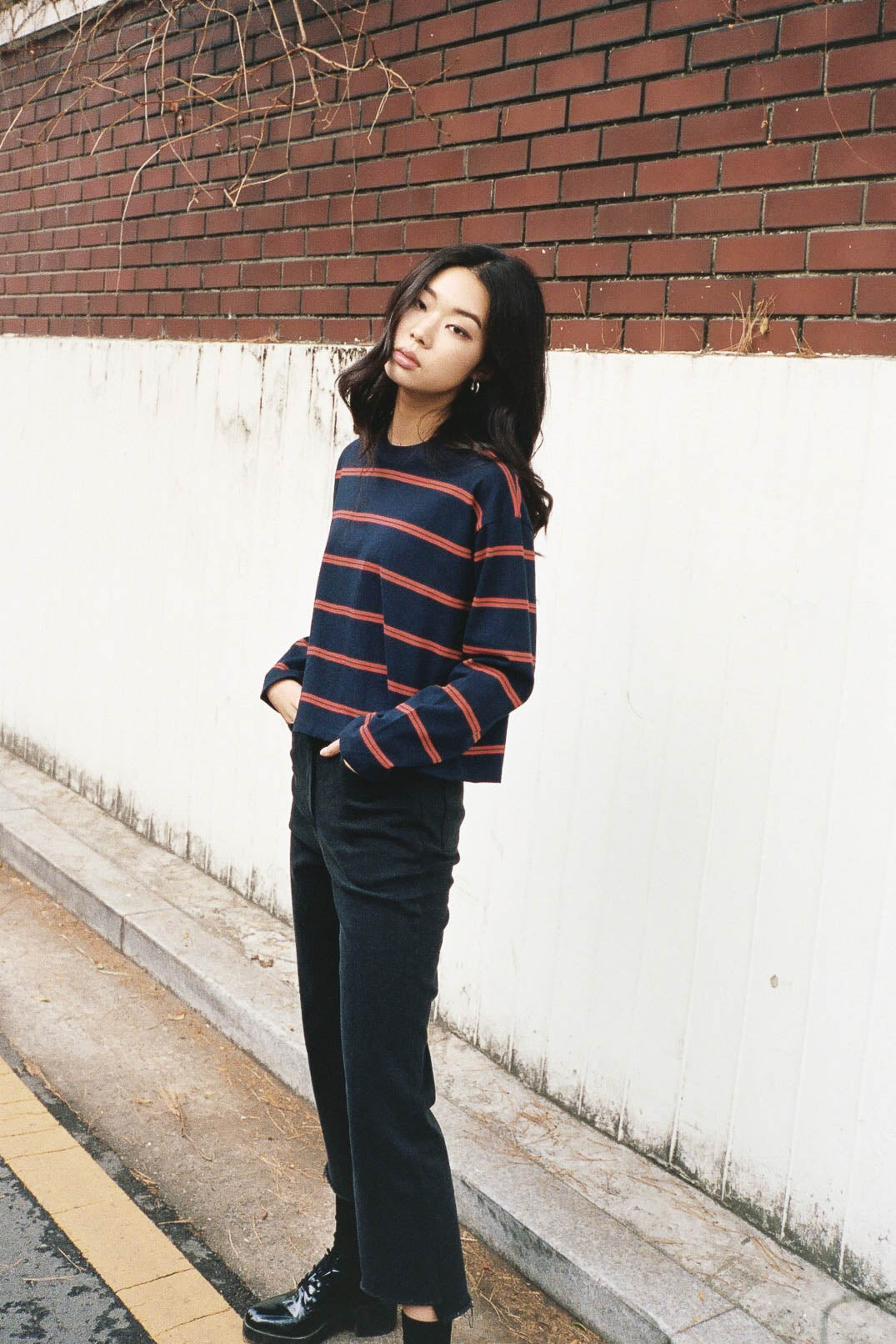 Samcheon boxy cropped stripe top