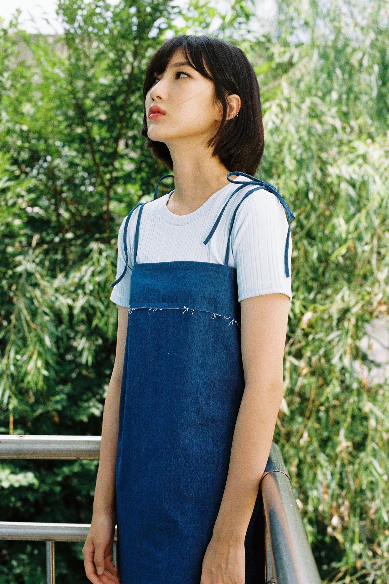 Raw strappy denim dress