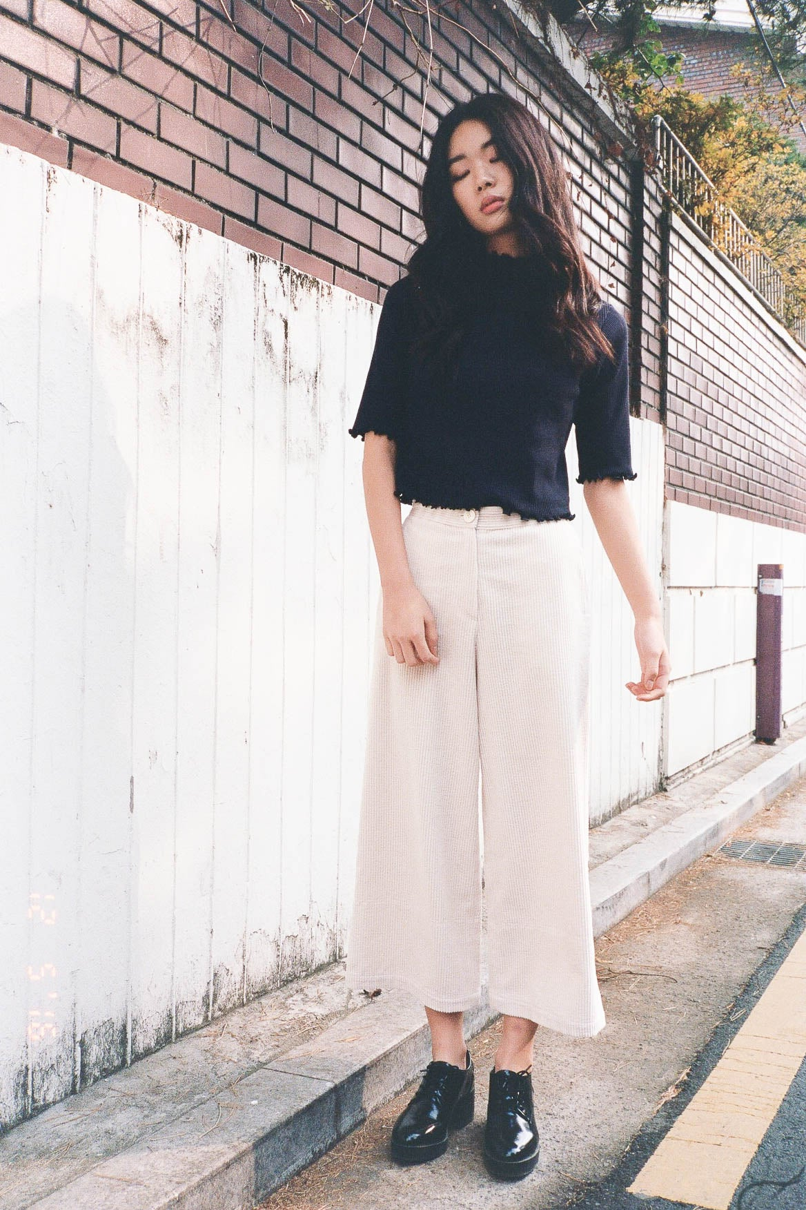 Bastille corduroy cropped wide leg pants
