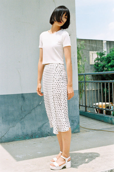 Ninety Five wrap print midi skirt
