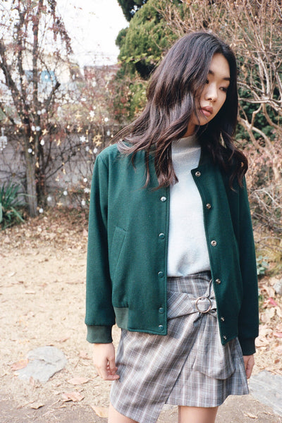 Autumn wool bomber jacket