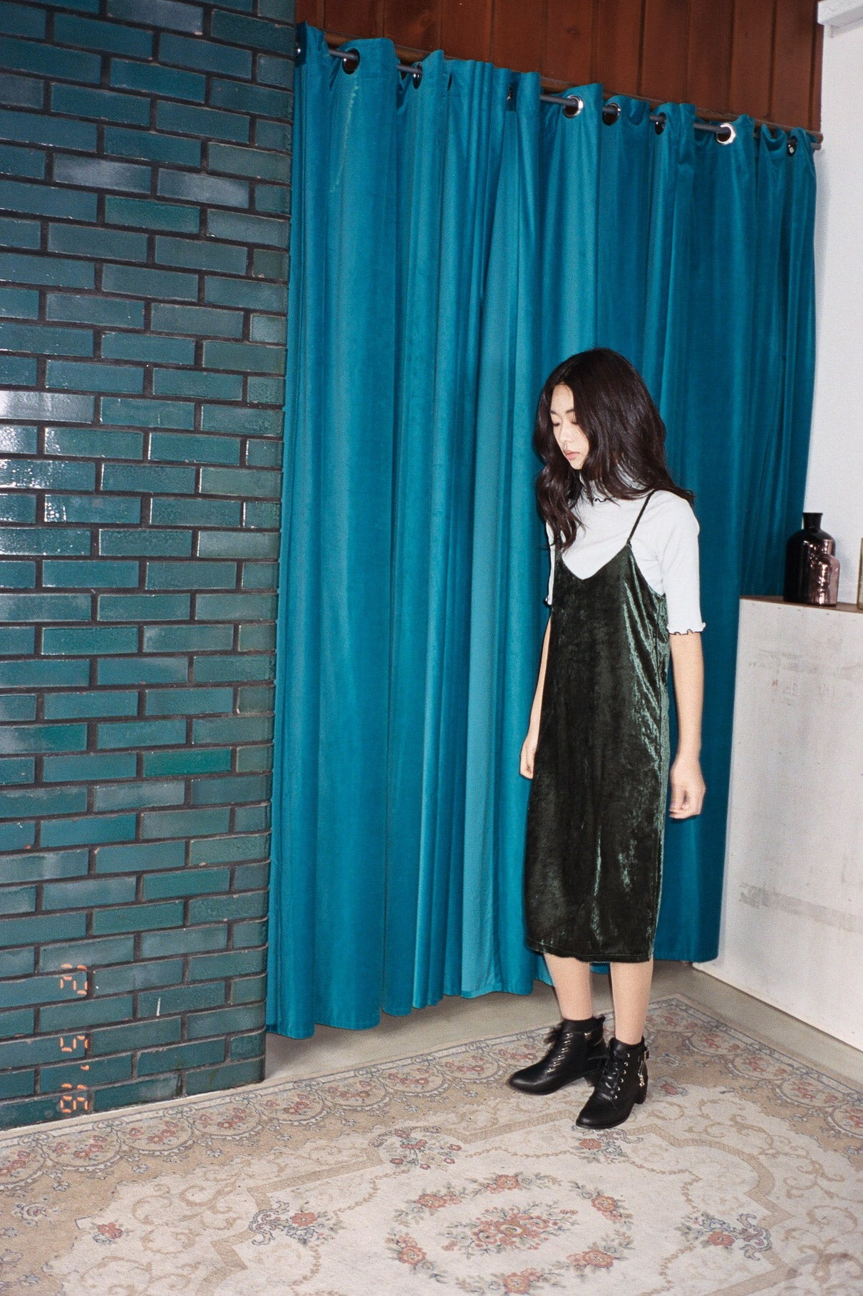Peckham velvet midi dress