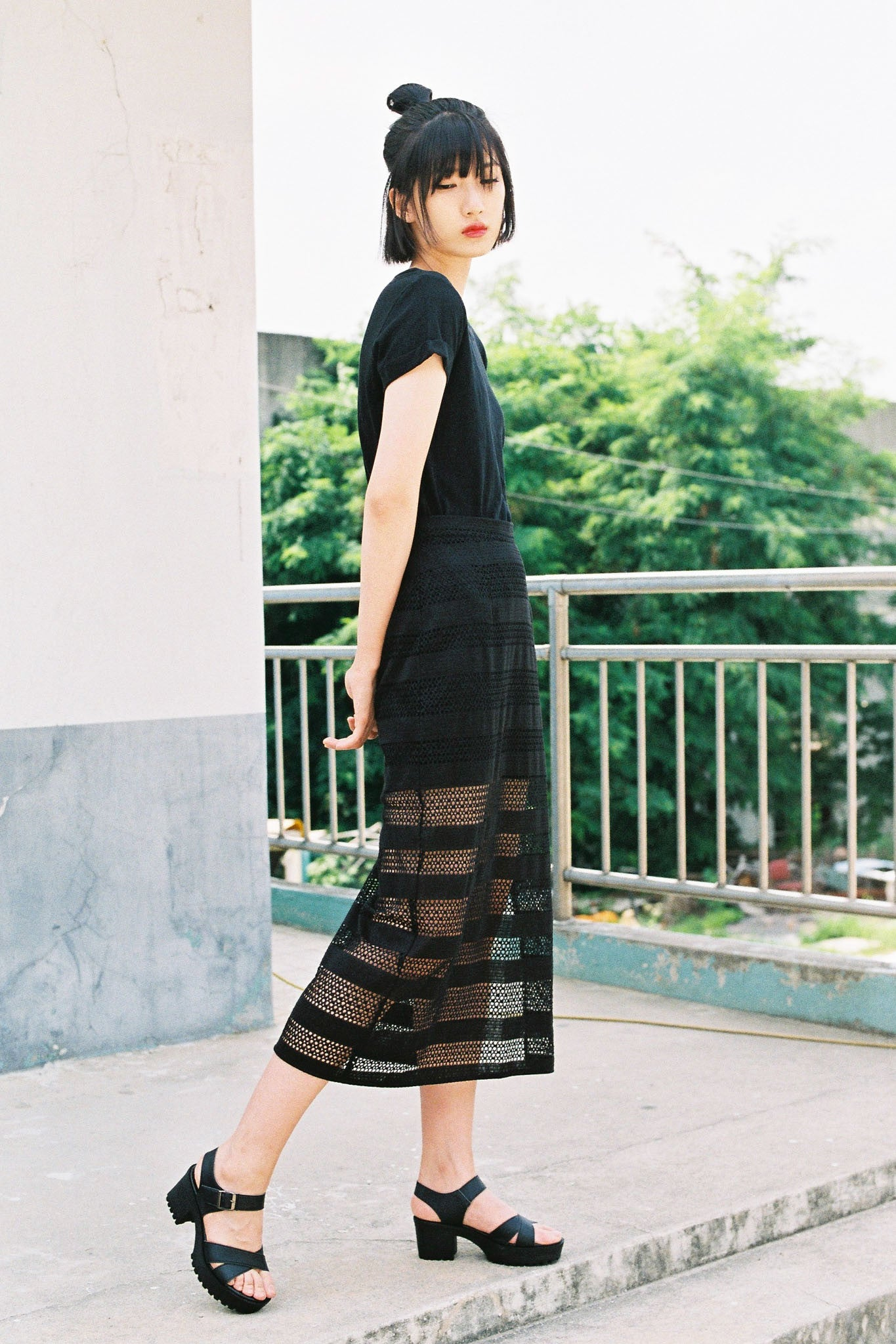 Knowing layered midi skirt