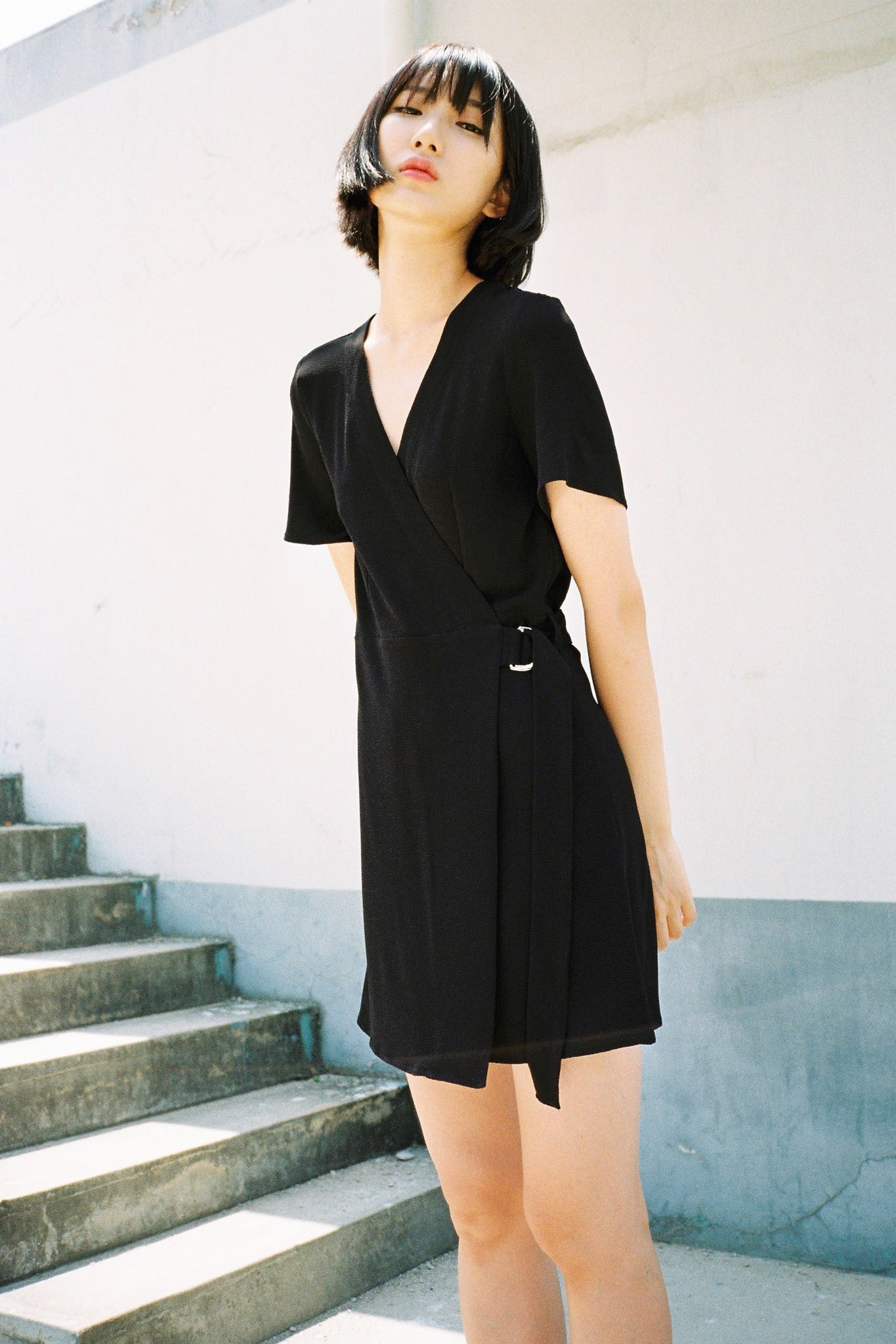 Parisian buckle wrap dress