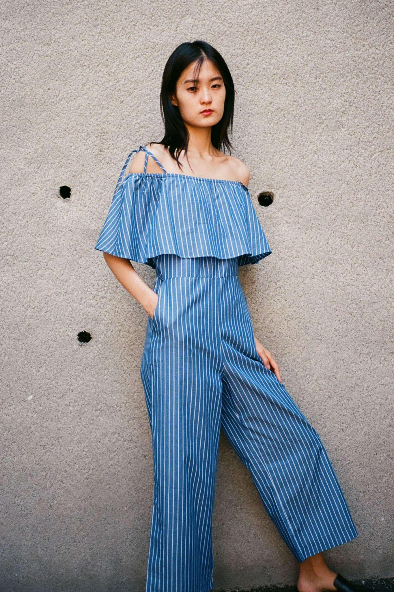Hera striped ruffle jumpsuit