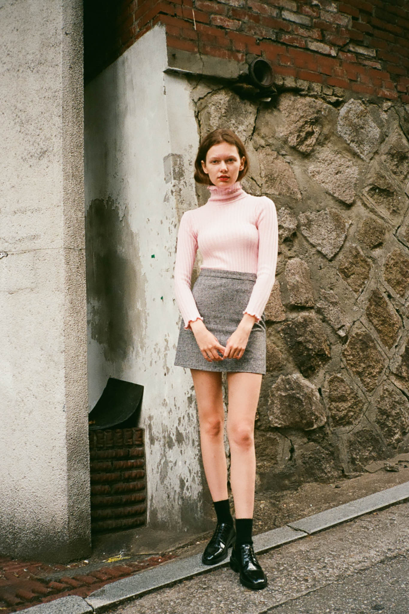 Calm ribbed frilled knit