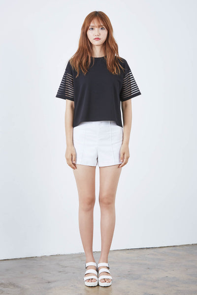 Dongguk top with mesh sleeves