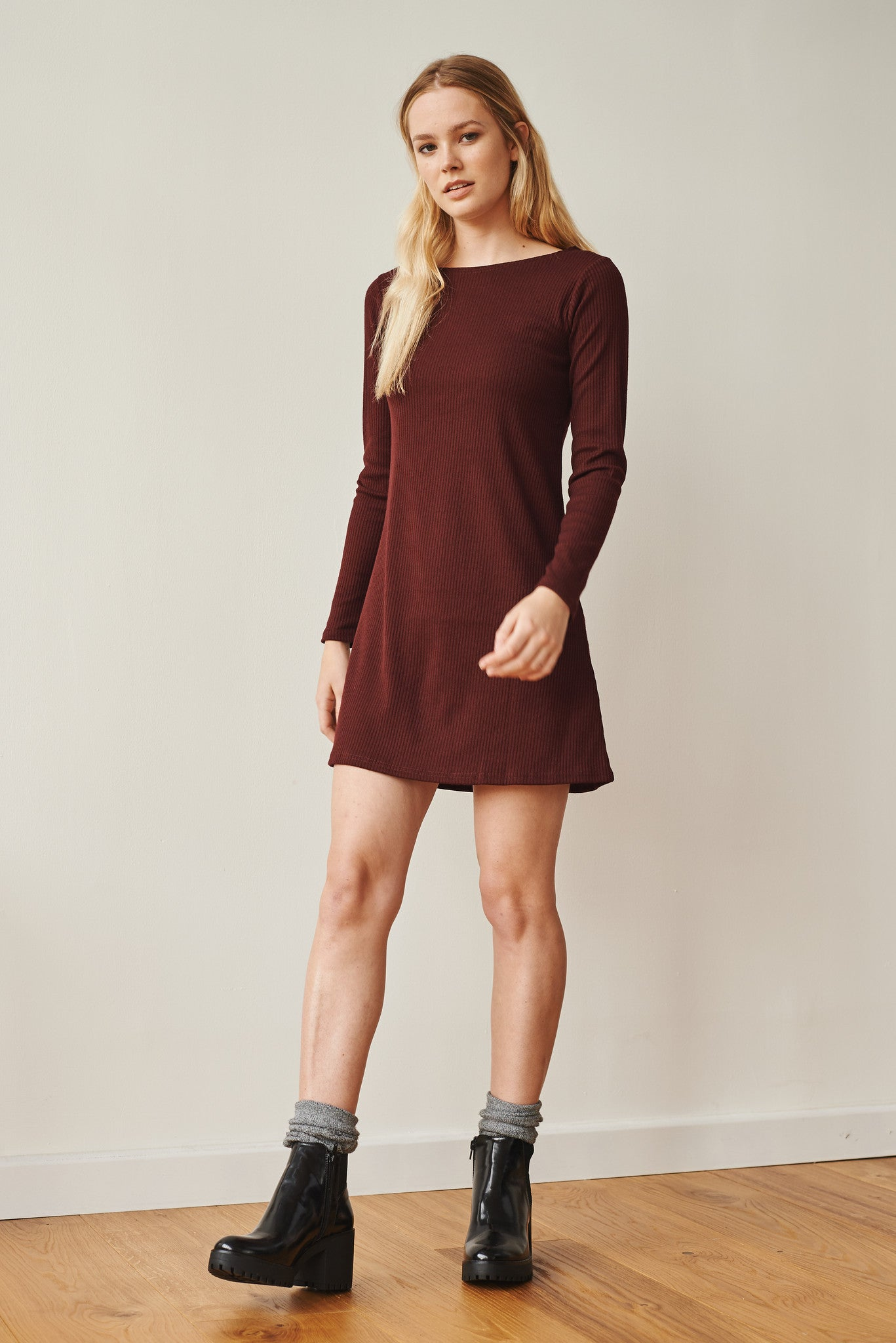 Francoise boat neck long sleeve ribbed dress
