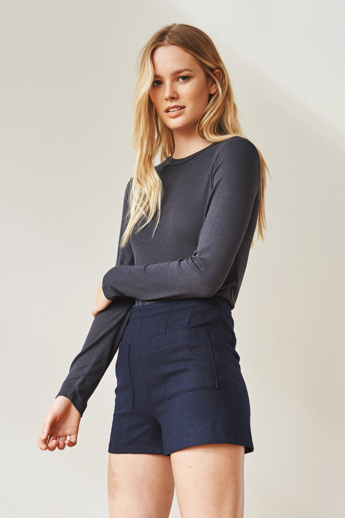 New Basic long-sleeve ribbed top
