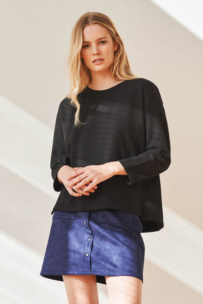 Neoprep cotton dropped shoulder top