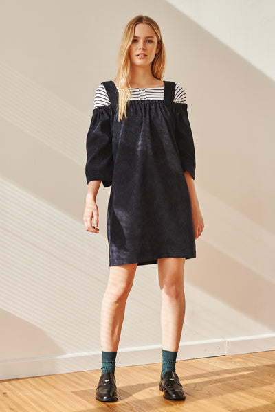 Cake off-shoulder corduroy dress