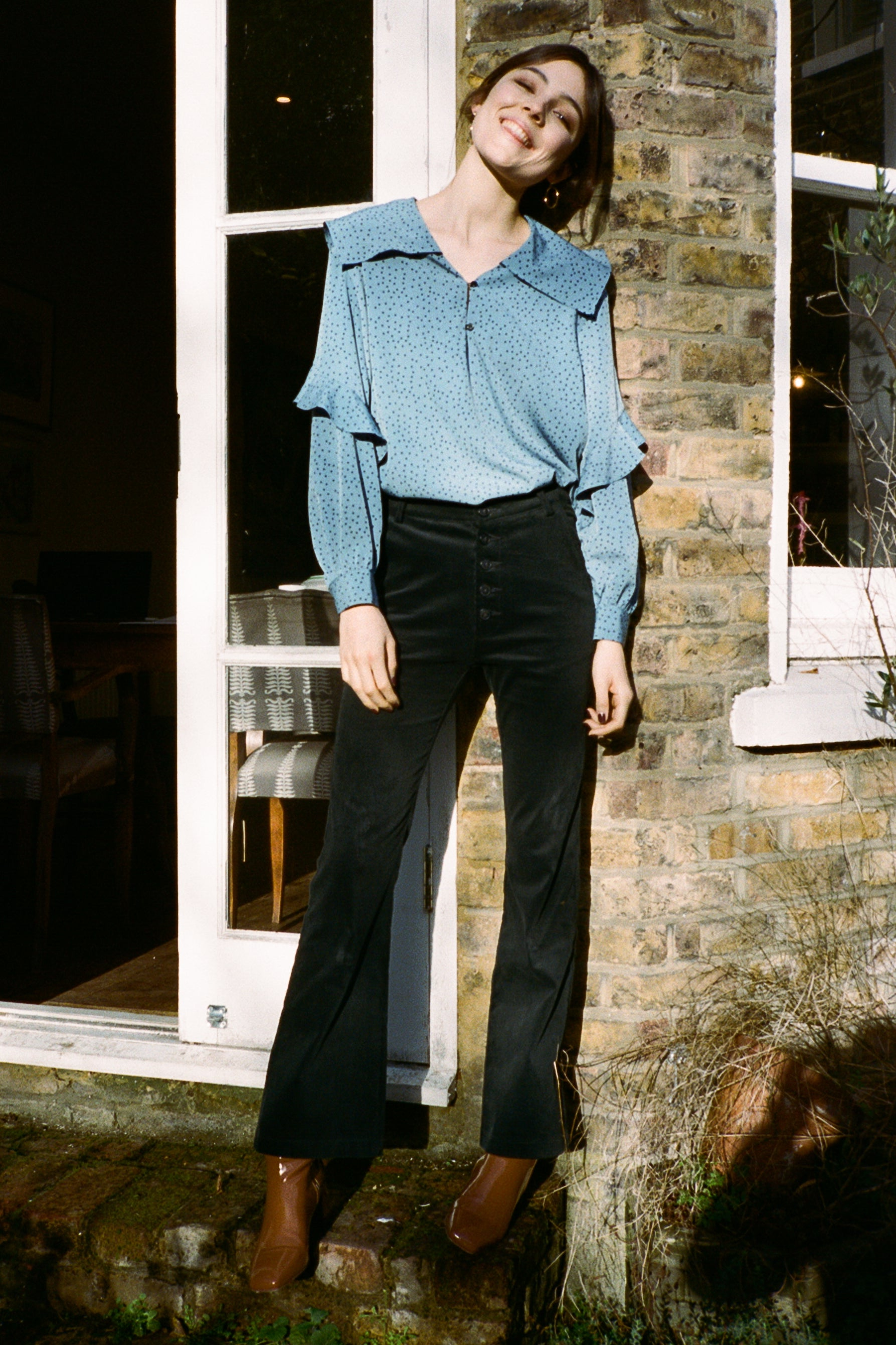 Jamie buttoned corduroy bootcut pants