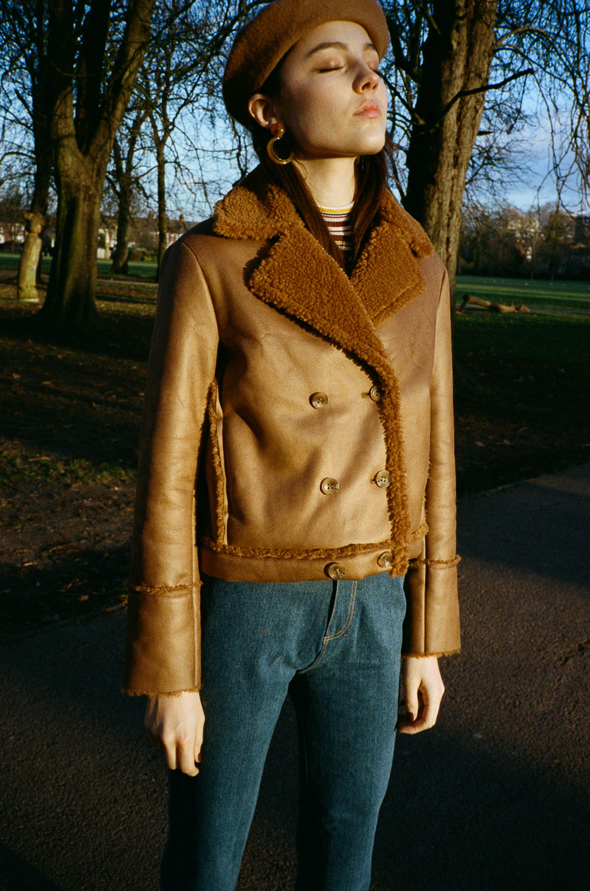 Mina sheepskin double-breasted coat