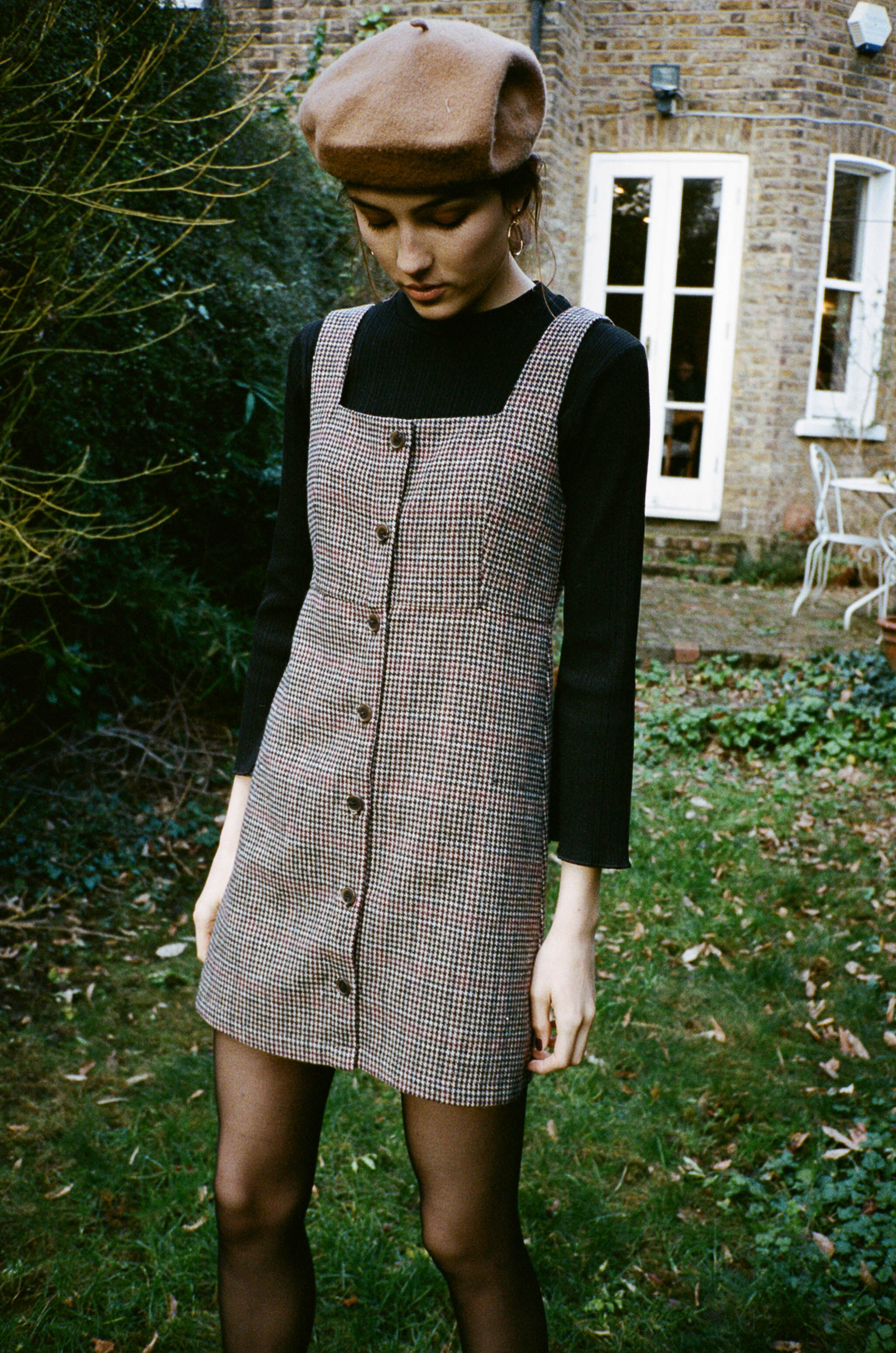 Lotte houndstooth buttoned mini dress