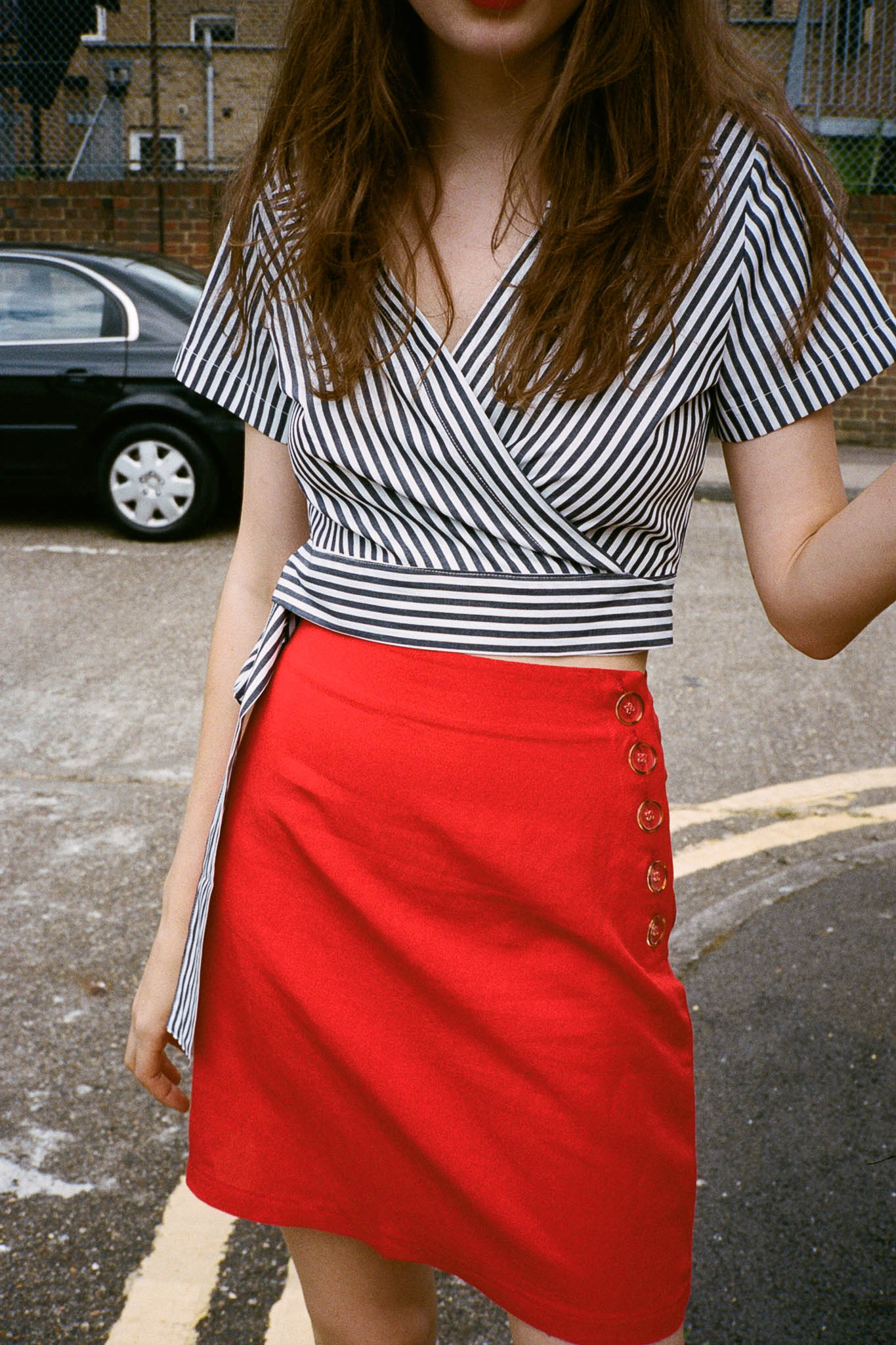 Park striped cropped wrap shirt