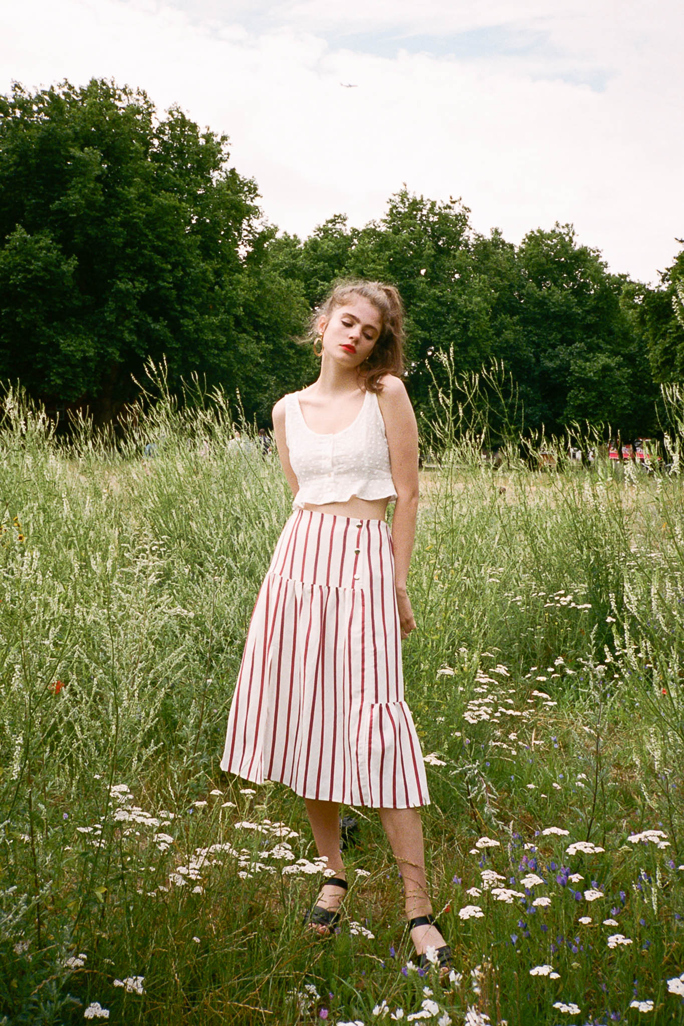 Peony midi striped buttoned skirt