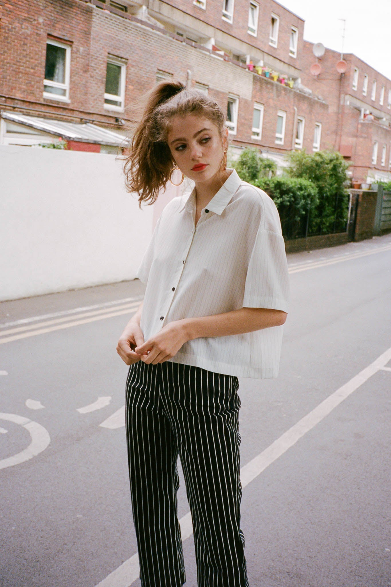 Market dropped shoulder striped shirt