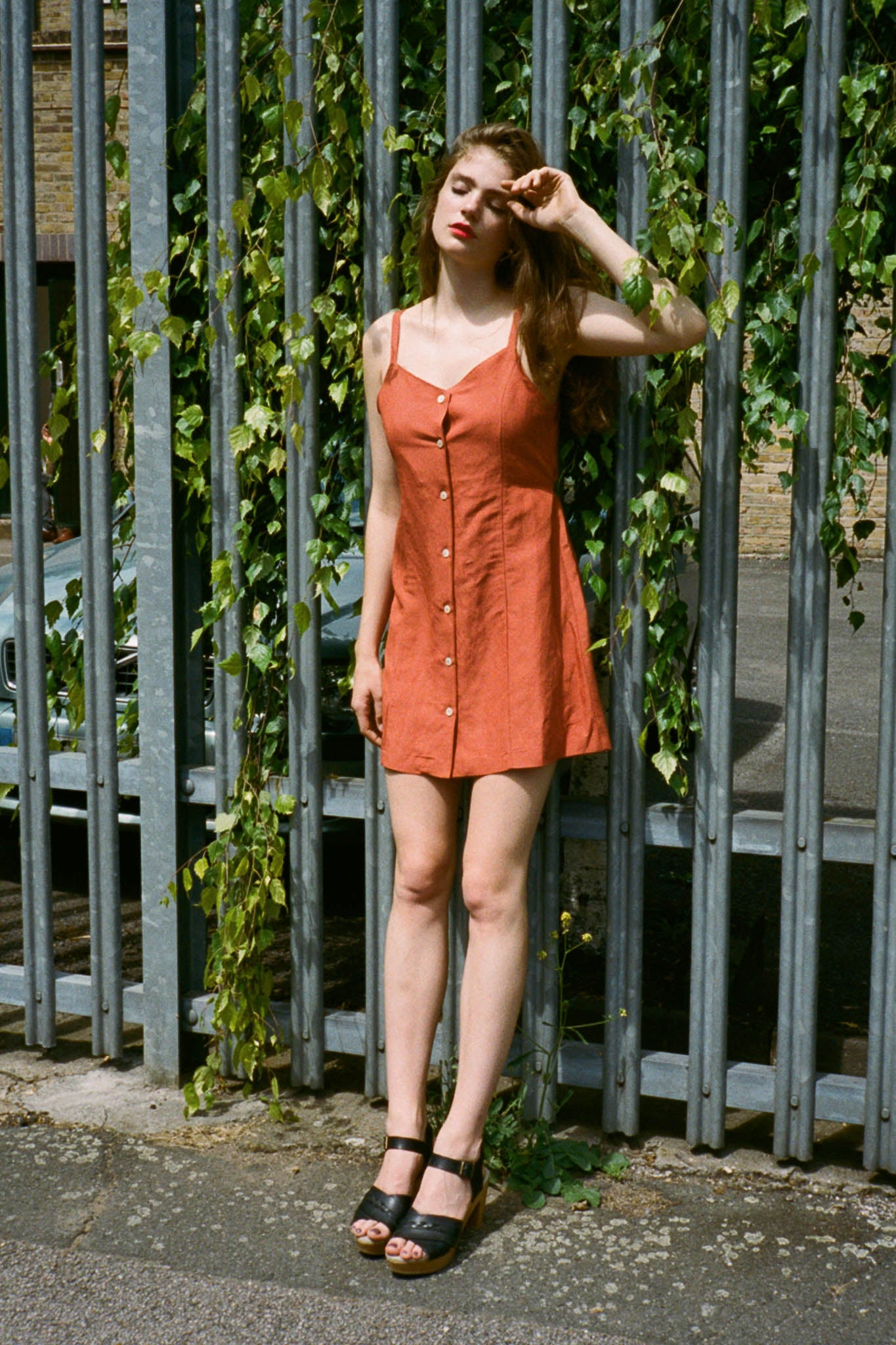 Joey buttoned linen strappy dress