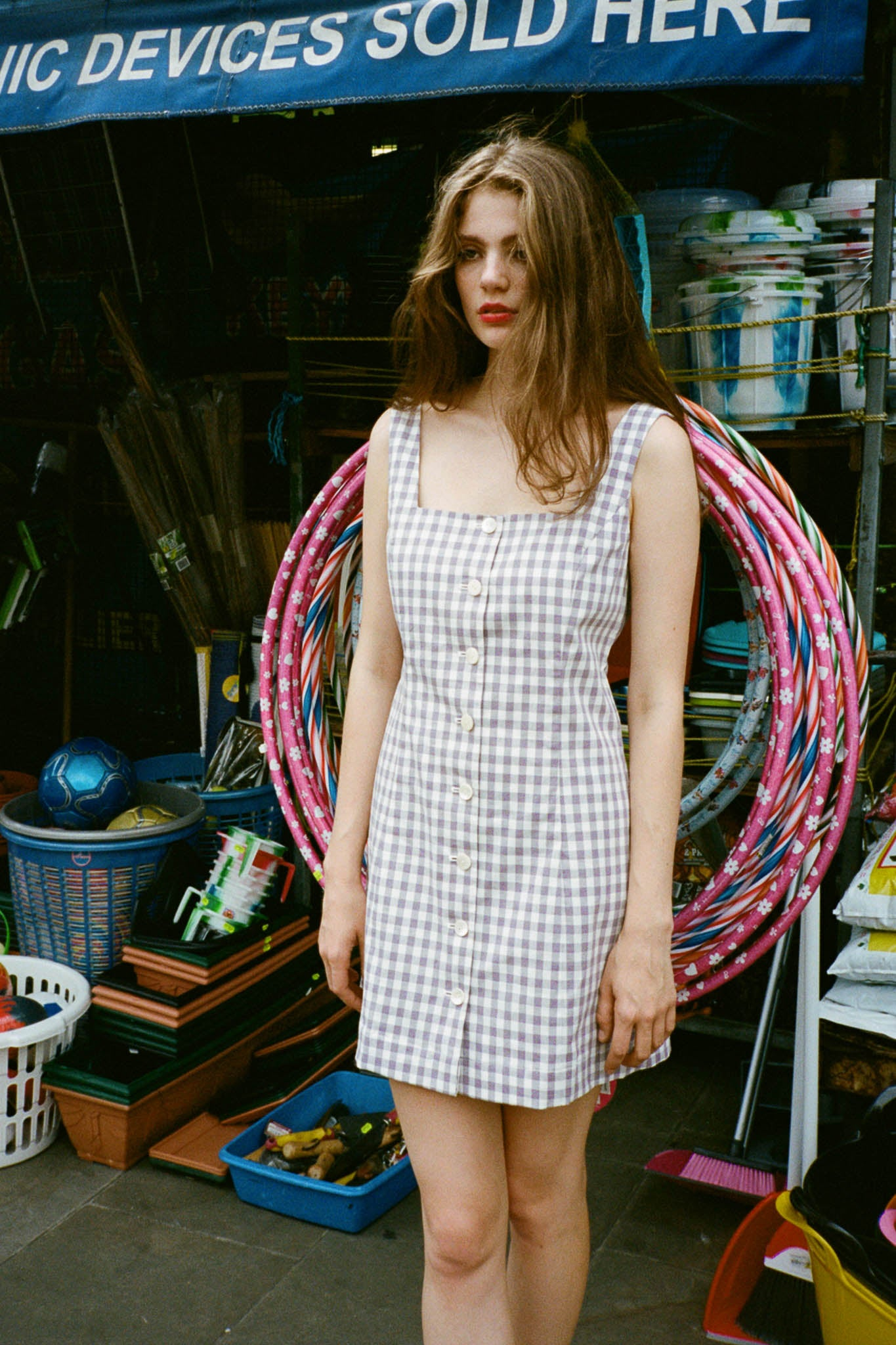 Garden gingham square neck dress