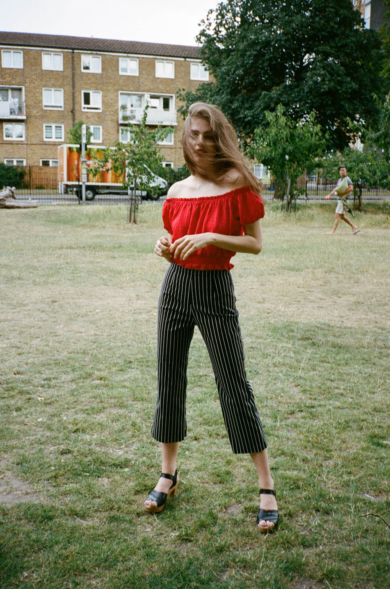 Play striped cropped flared pants