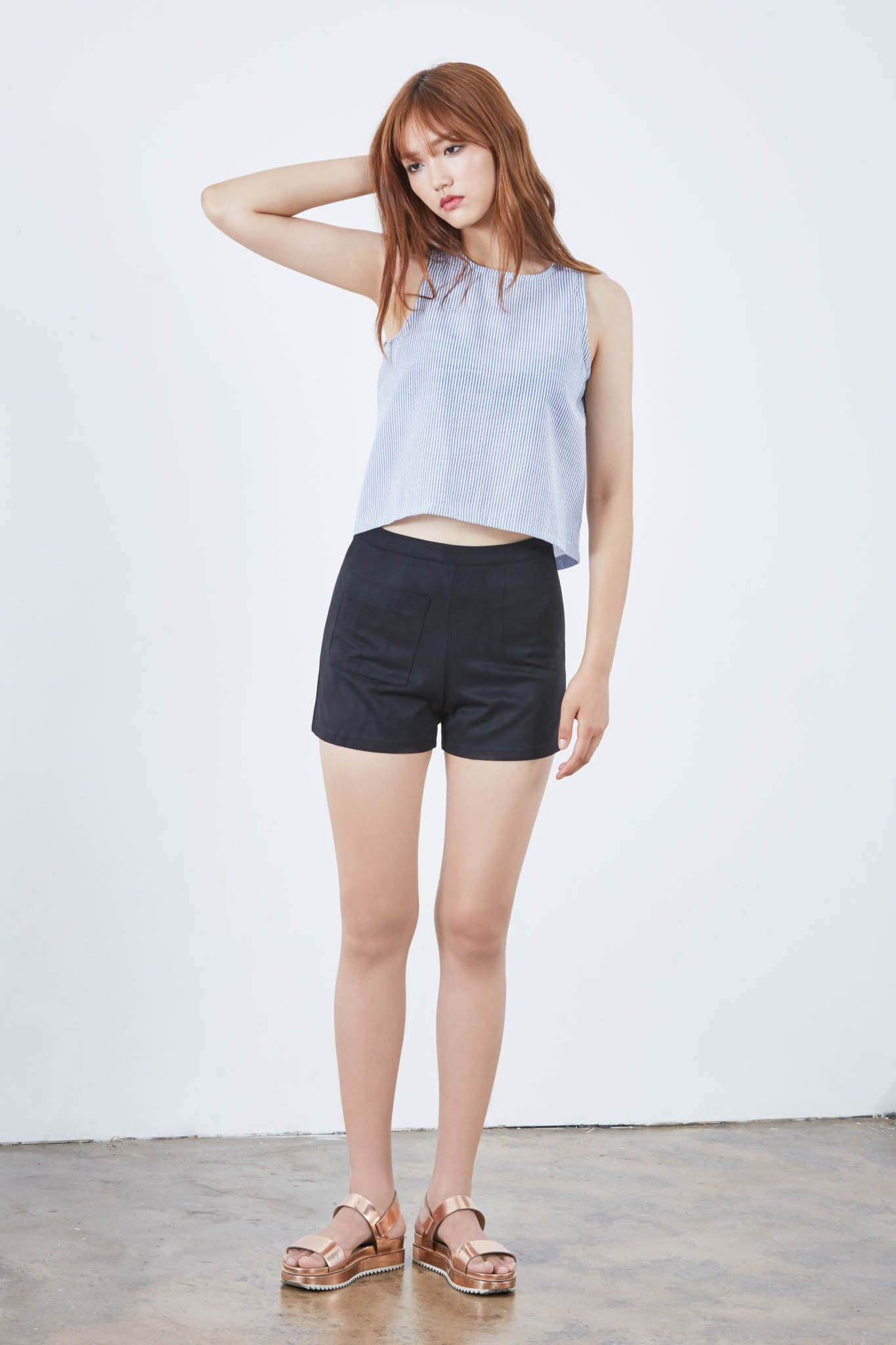 Clean-cut suedette shorts