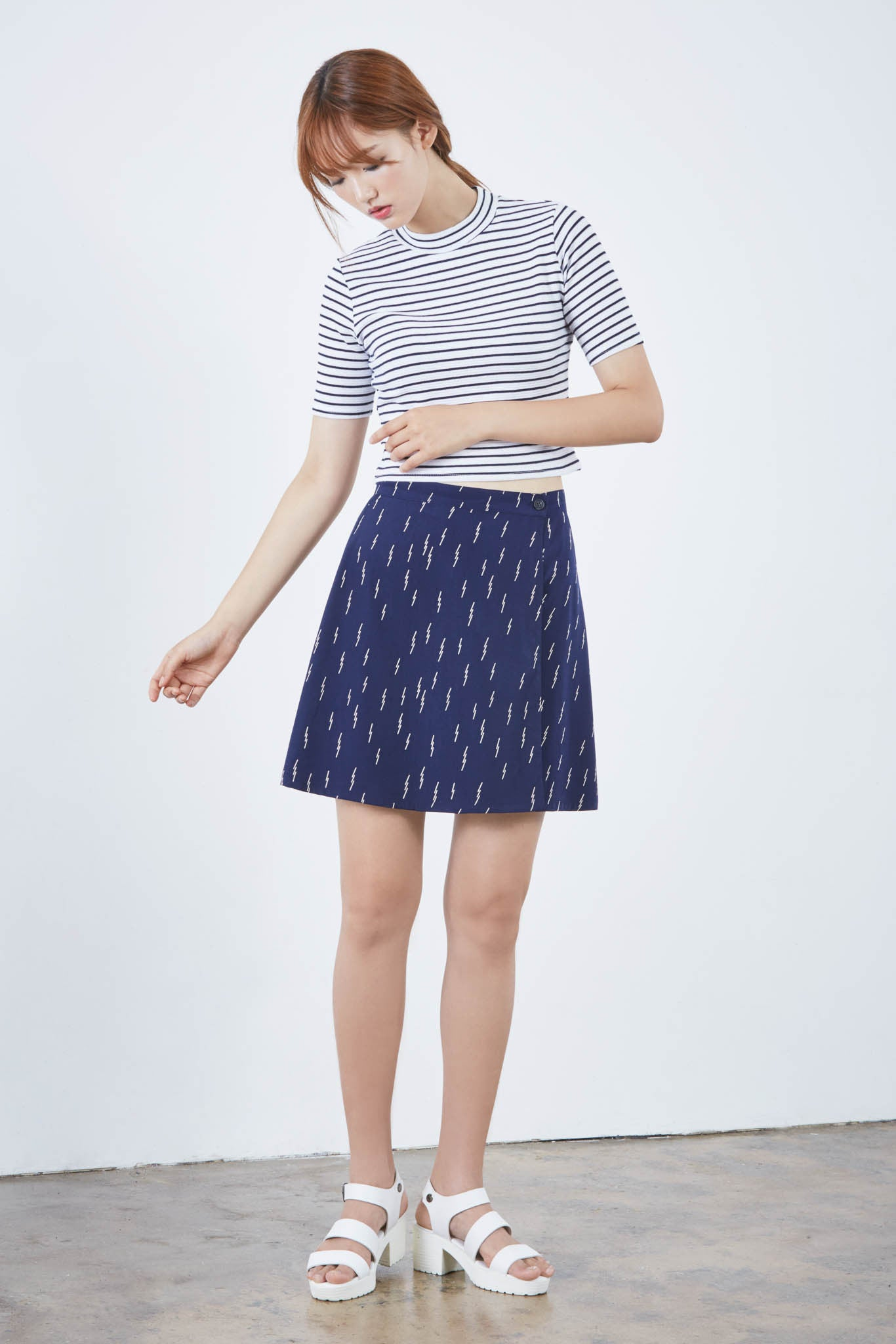 Neo-nautical high neck striped top