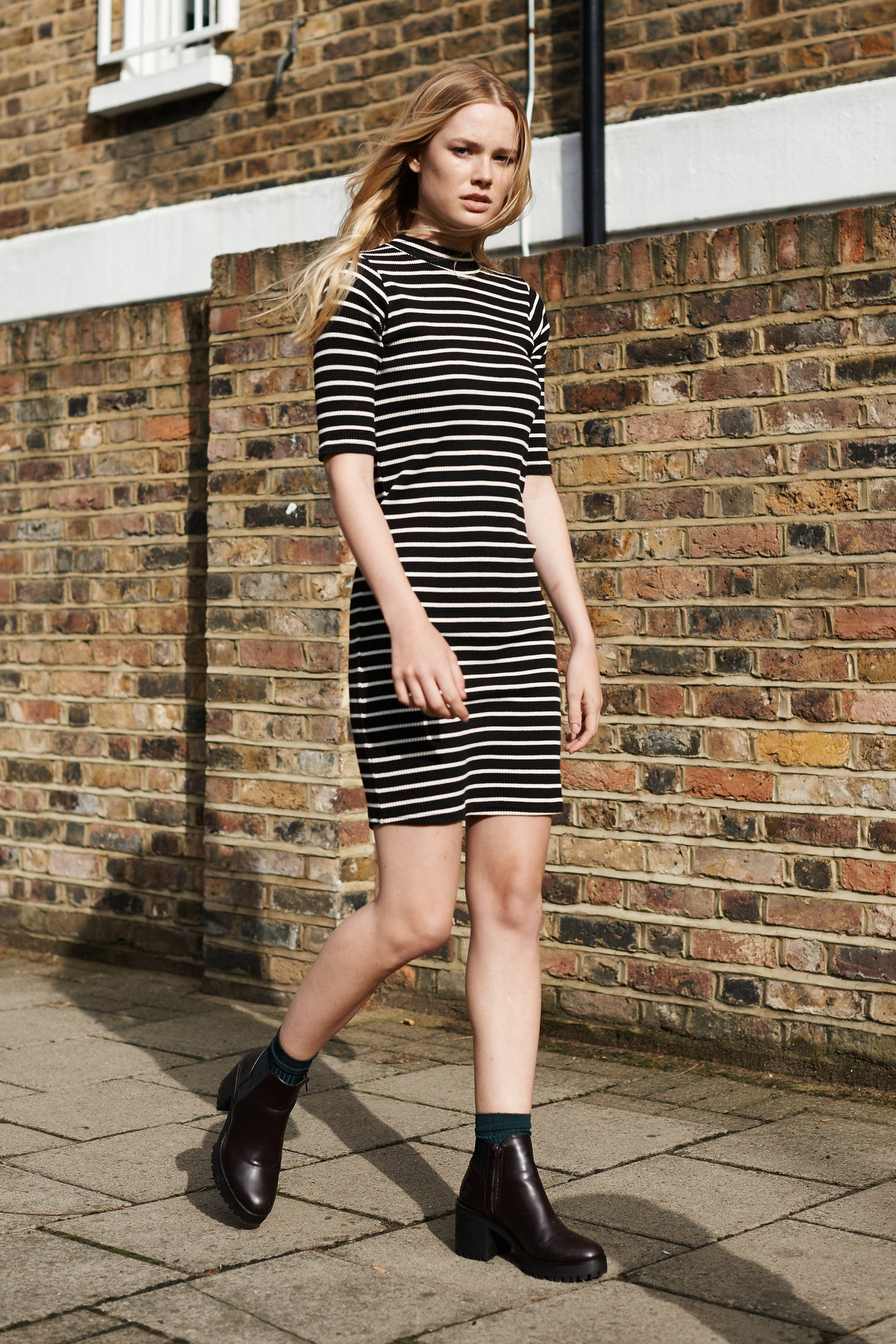 Ally high neck ribbed dress (striped rib)