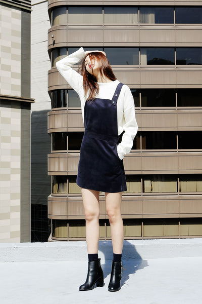 Hongdae suedette pinafore dress