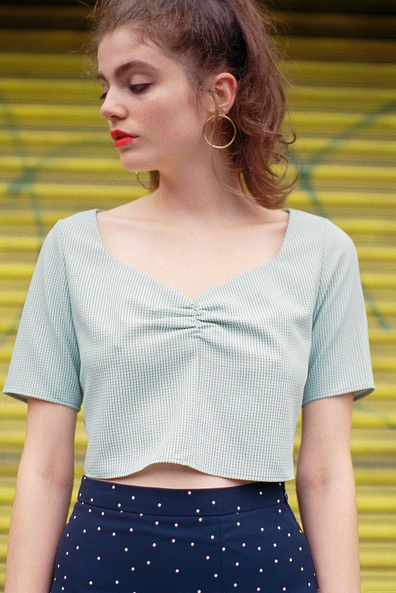 Field Day gathered gingham cropped top