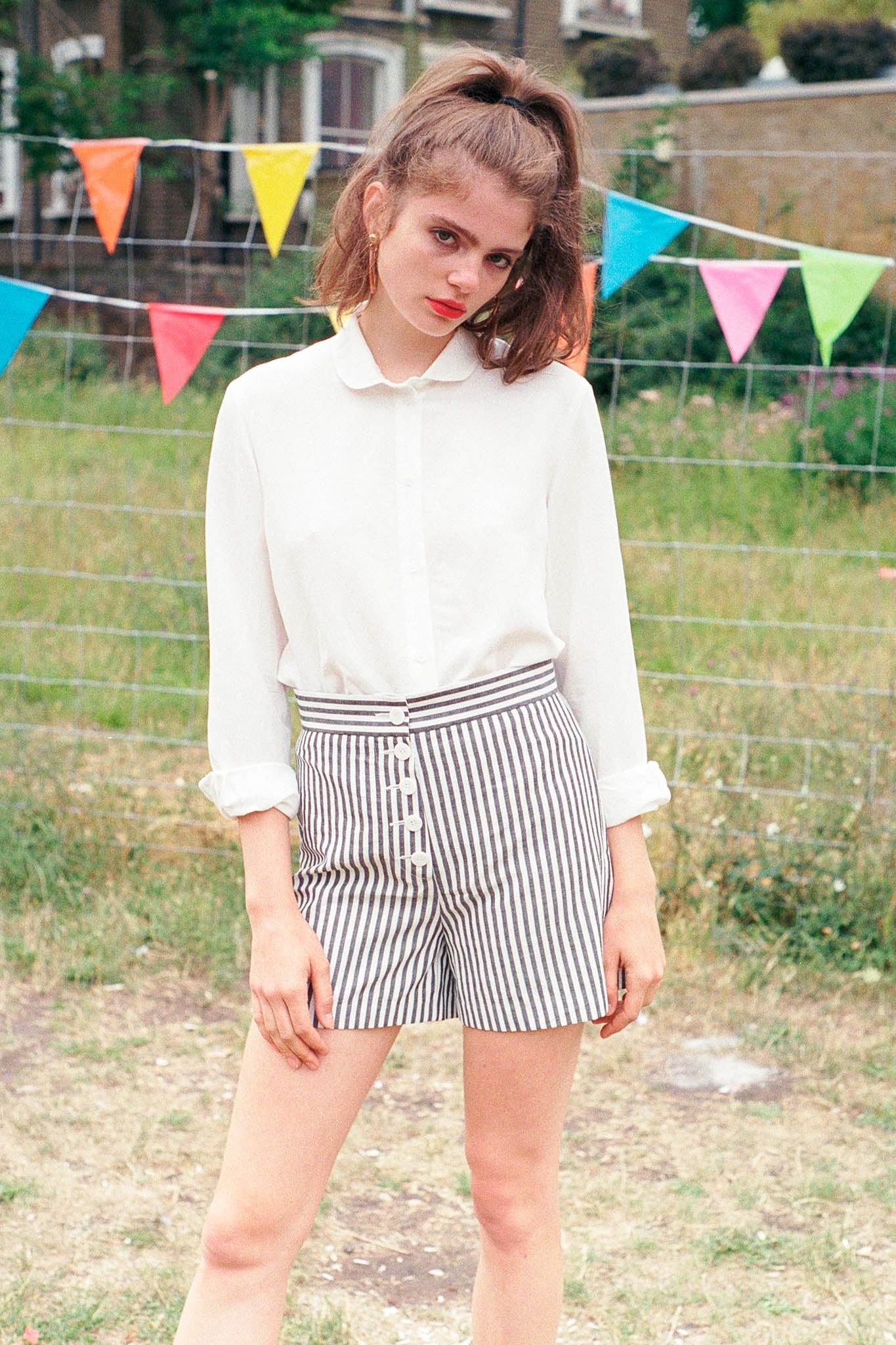 Canal striped buttoned shorts