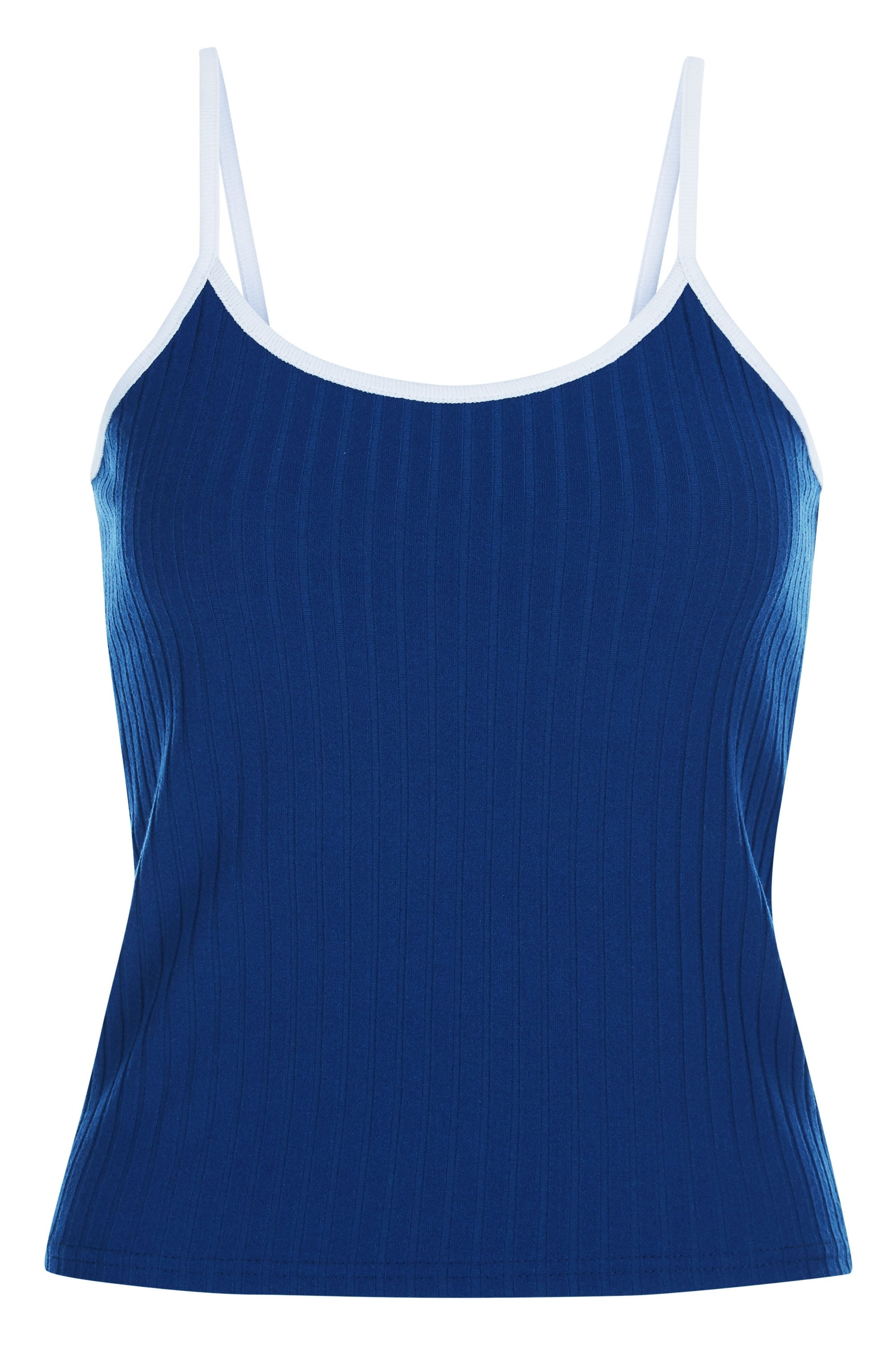 New Retro ribbed tank top with contrast edge