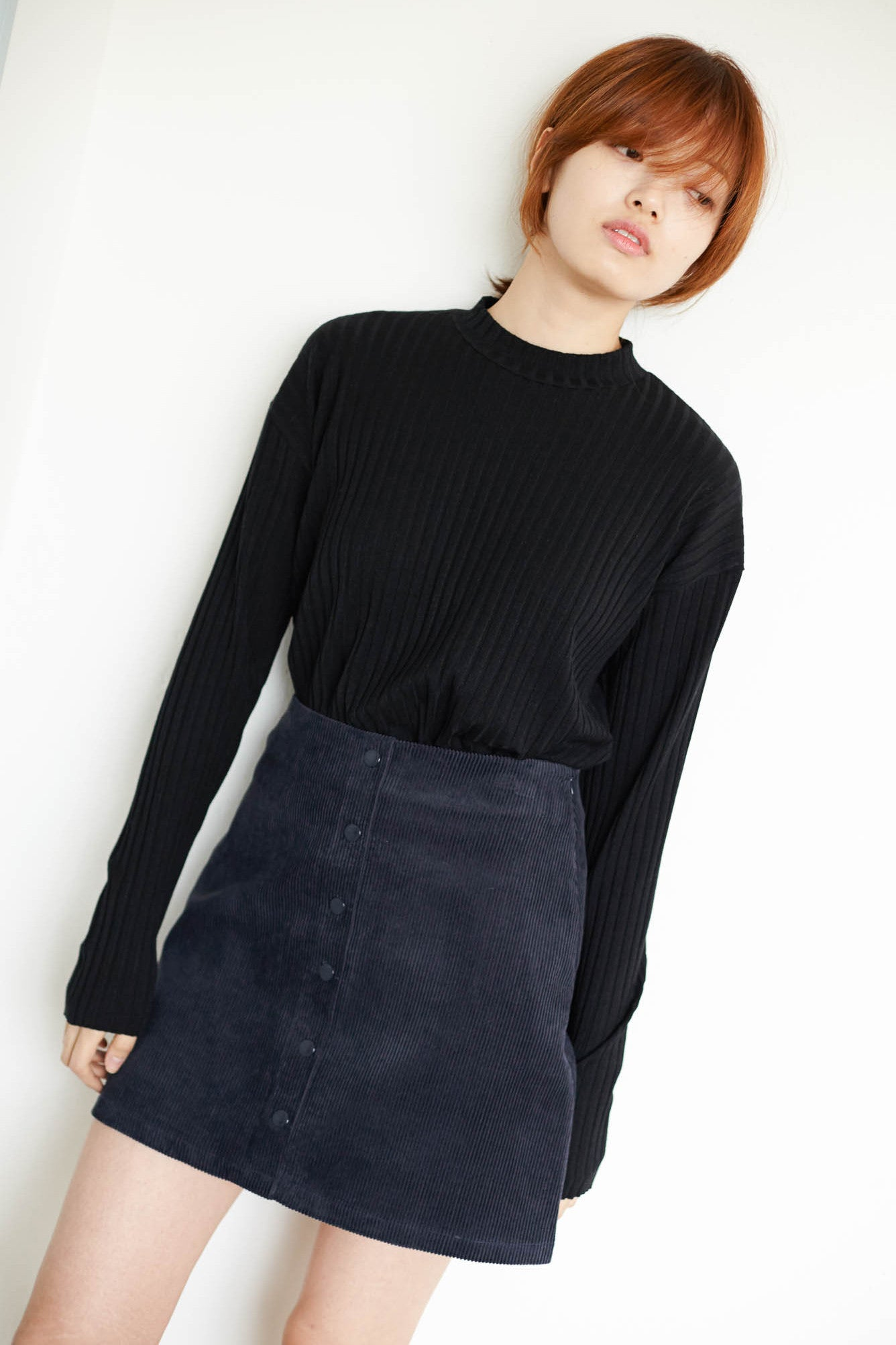 Ueno high neck ribbed loose top
