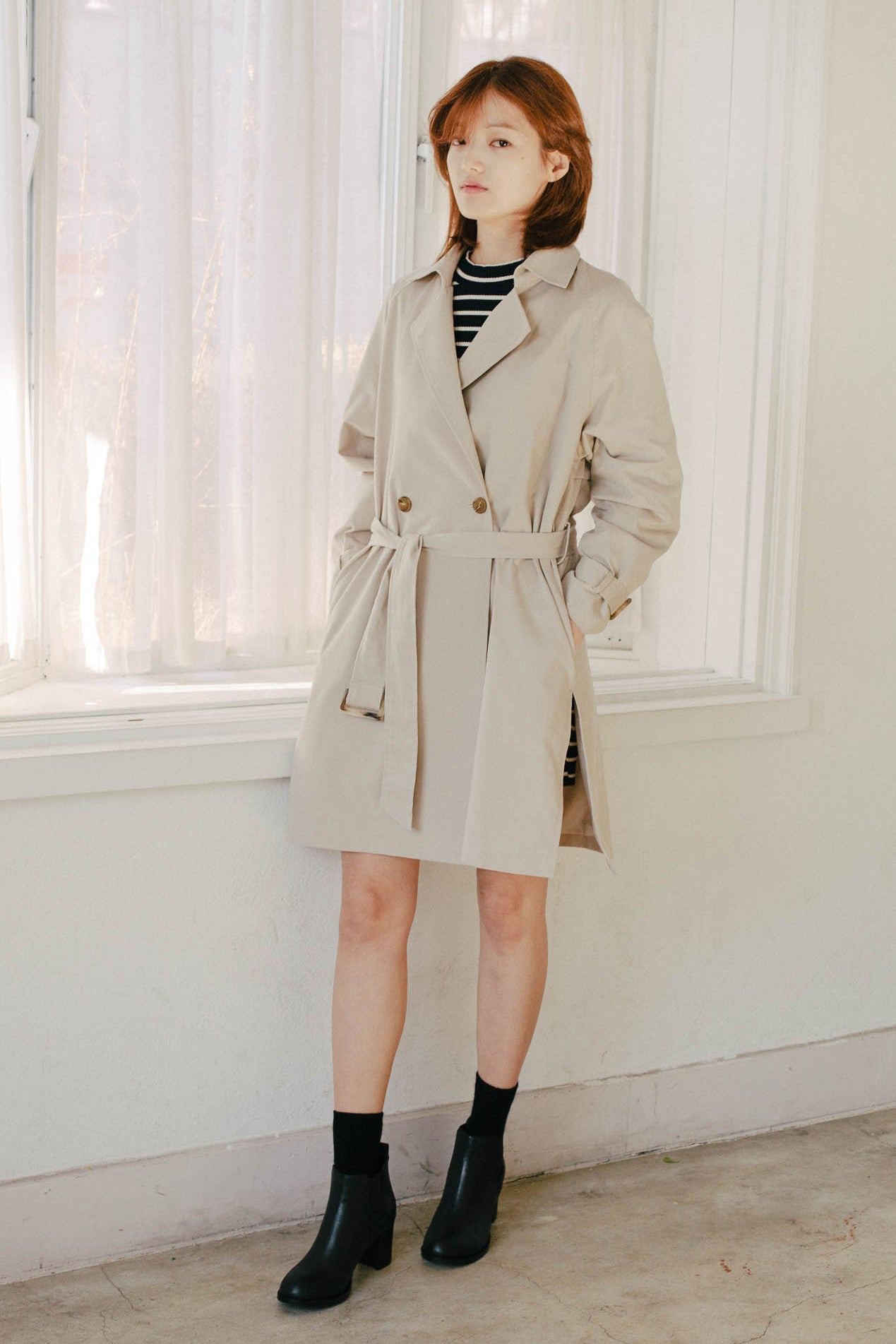 Street slit trench-coat