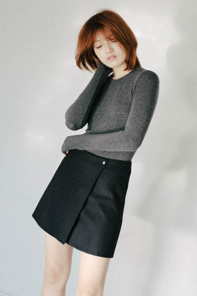 Snap wool wrap skirt