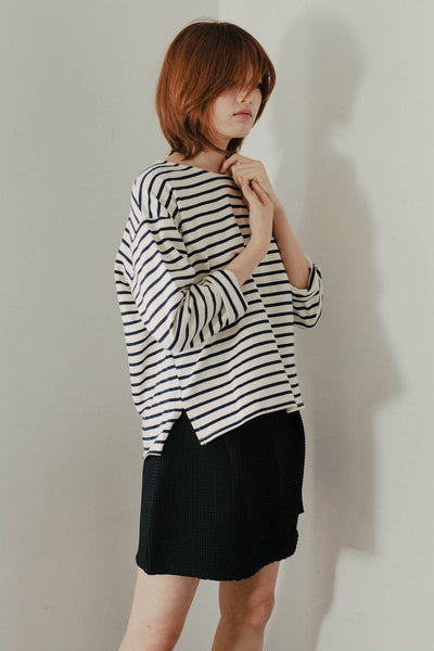 Neoprep dropped shoulder stripe top