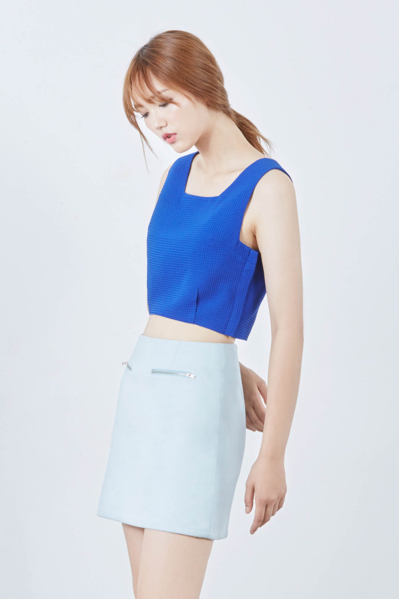 Bee square neck waffled cropped top