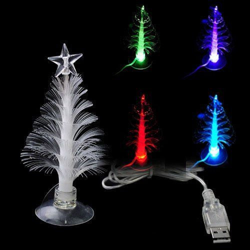Fiber Christmas Xmas Tree 7 Multi Colors USB LED Lighting with Star decor PC laptop Office - Gift - Althemax - 1