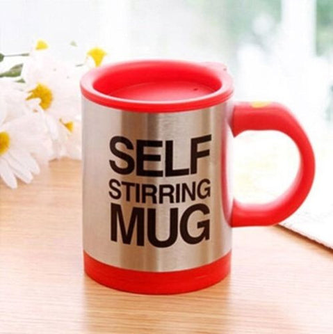 Lazy Auto Self Stir Stirring Mixing Tea Coffee Cup Mug Work Office - Red - Gift - Althemax - 1