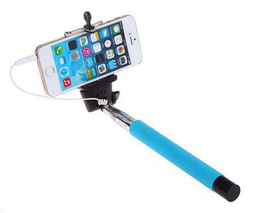 Blue 3.5mm Extendable Selfie Wired Stick Phone Holder Remote Shutter Monopod For smartphone iphone - Tripods & Monopods - Althemax - 1