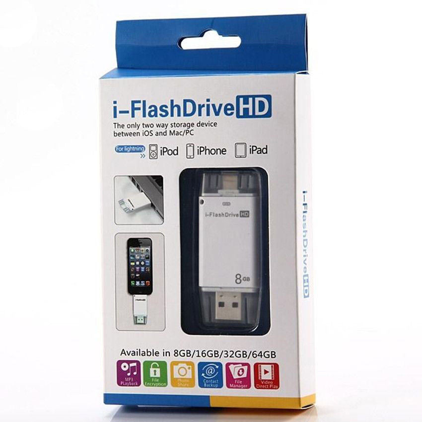 USB iFlash Drive U Disk 8 pin Memory Stick Adapter For iPhone 5 5S 6 plus USB iFlash Drive U Disk 8 pin Memory Stick Adapter For iPhone 5 5S 6 plus 8/16/32/64 GB - Flash Drive - Althemax - 5