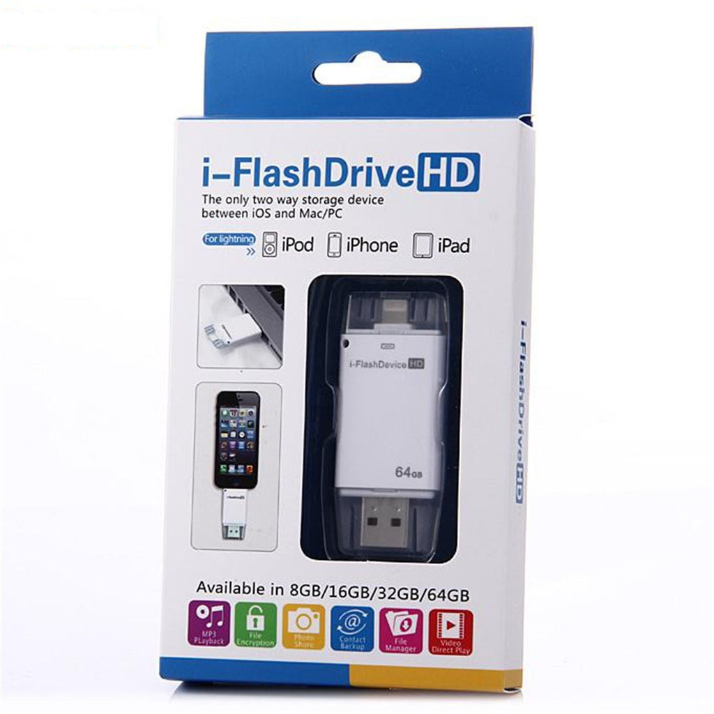 USB iFlash Drive U Disk 8 pin Memory Stick Adapter For iPhone 5 5S 6 plusUSB iFlash Drive U Disk 8 pin Memory Stick Adapter For iPhone 5 5S 6 plus 8/16/32/64 GB - Flash Drive - Althemax - 8