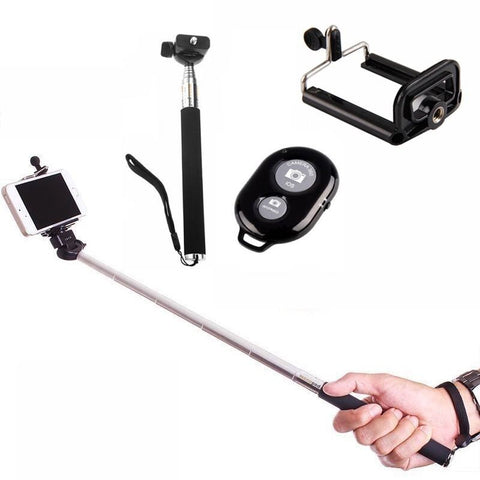 2in1 Camera Monopod Selfie Stick Bluetooth remote package 1M for cellphone Apple iphone Black - Selfie Stick - Althemax - 1