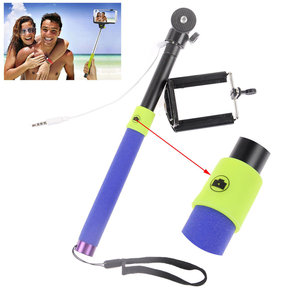 Wired 3.5mm With Sponge Anti Slip Remote Extendable Shutter Selfie Monopod Stick Blue Purple - Tripods & Monopods - Althemax - 1