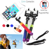 Wired 3.5mm With Sponge Anti Slip Remote Extendable Shutter Selfie Monopod Stick Blue Purple - Tripods & Monopods - Althemax - 4